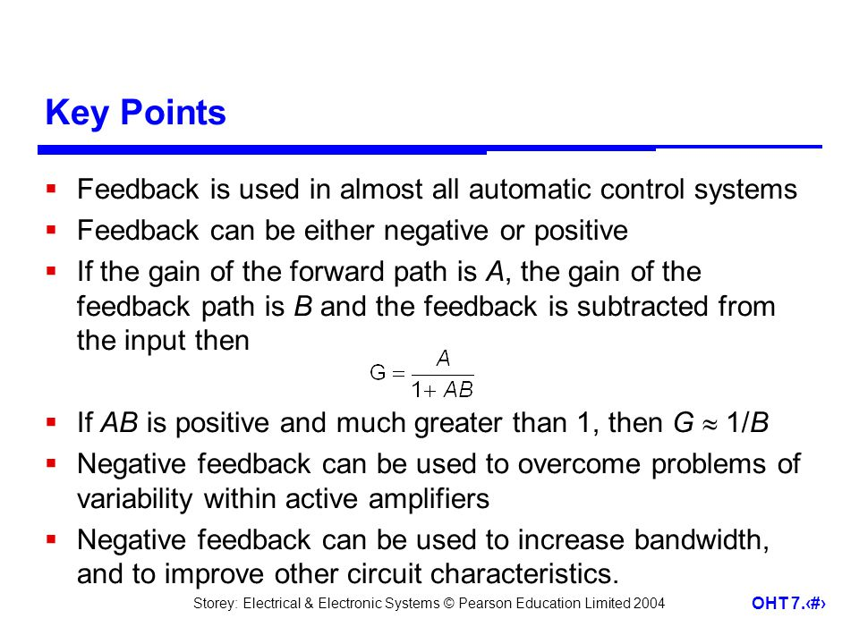 Key Points Feedback is used in almost all automatic control systems