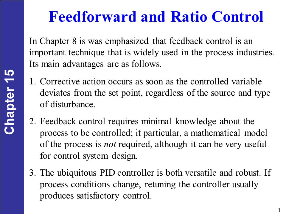 Feedforward and Ratio Control