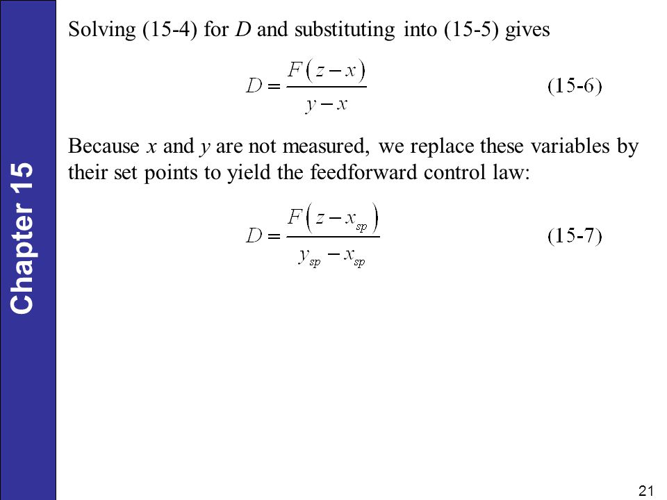 Solving (15-4) for D and substituting into (15-5) gives