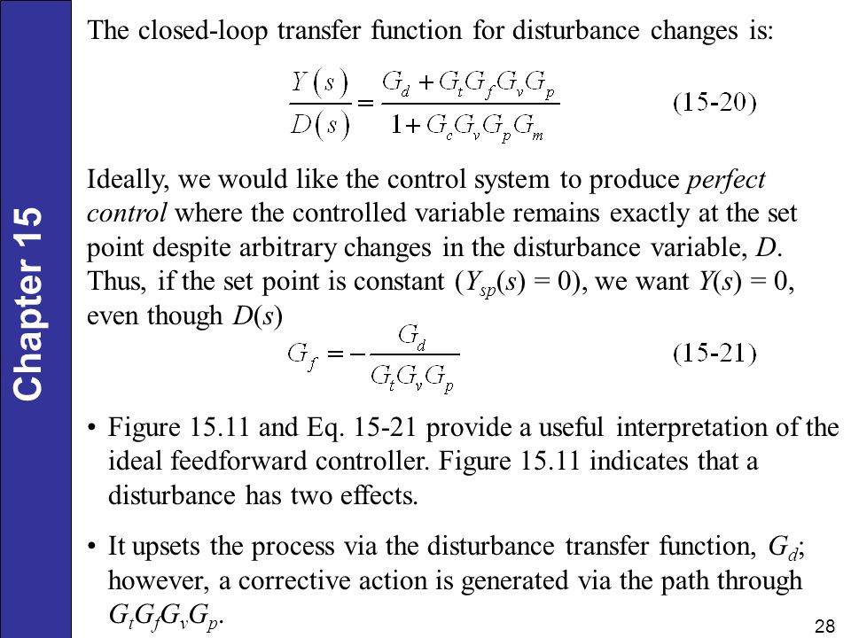 The closed-loop transfer function for disturbance changes is: