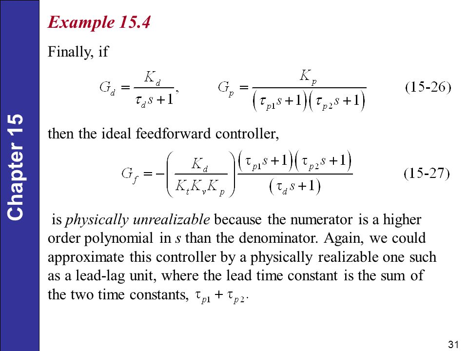 Example 15.4 Finally, if then the ideal feedforward controller,