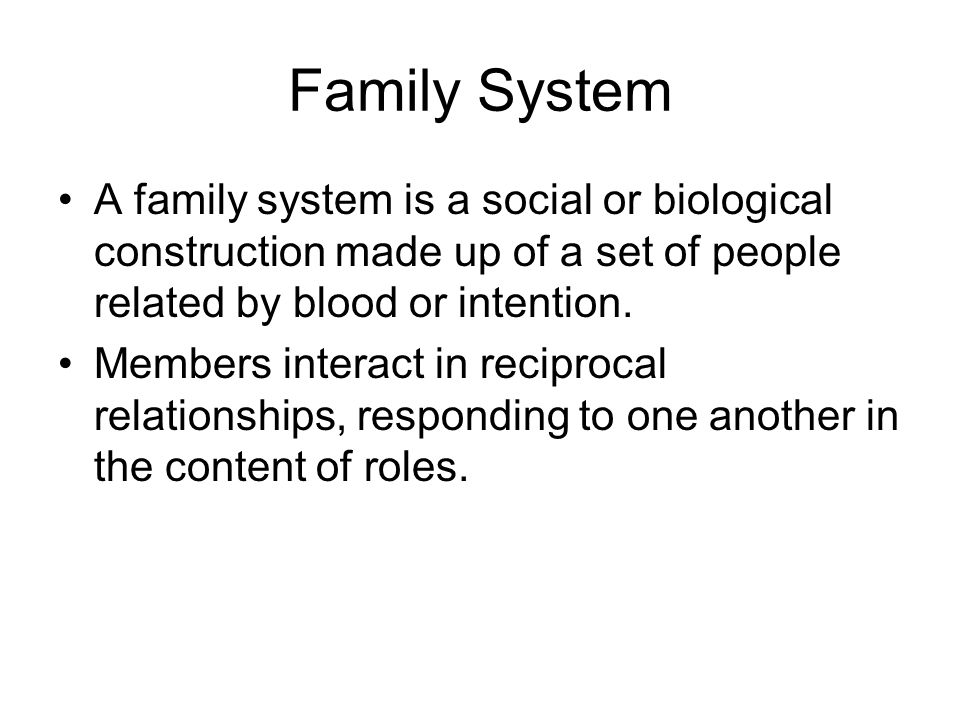 Family System A family system is a social or biological construction made up of a set of people related by blood or intention.