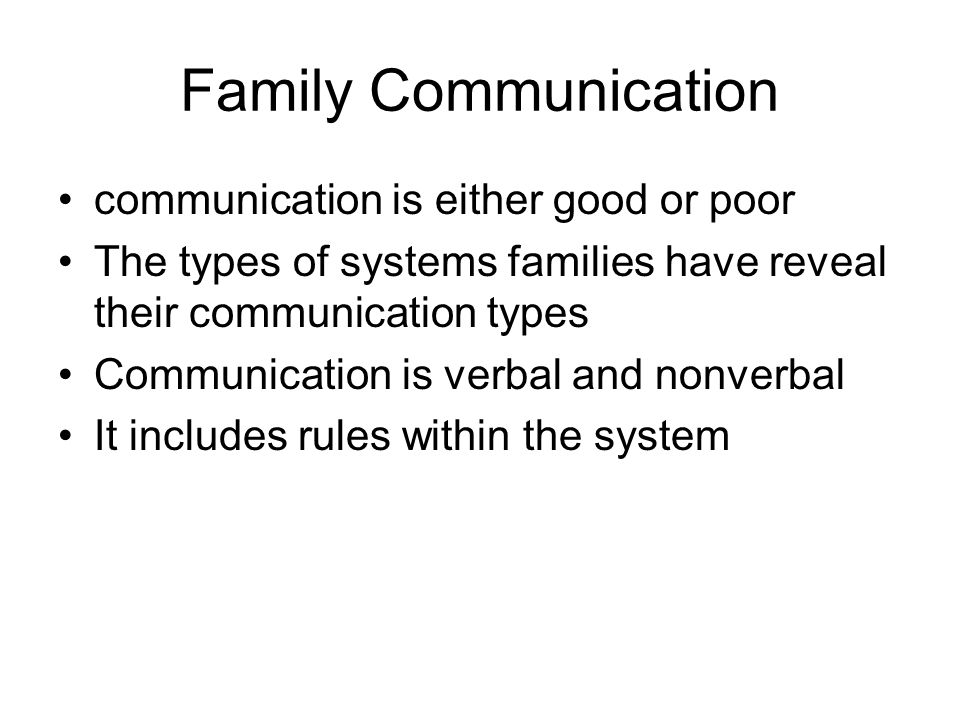Family Communication communication is either good or poor