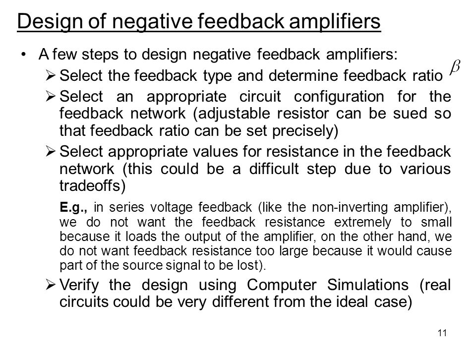 Design of negative feedback amplifiers