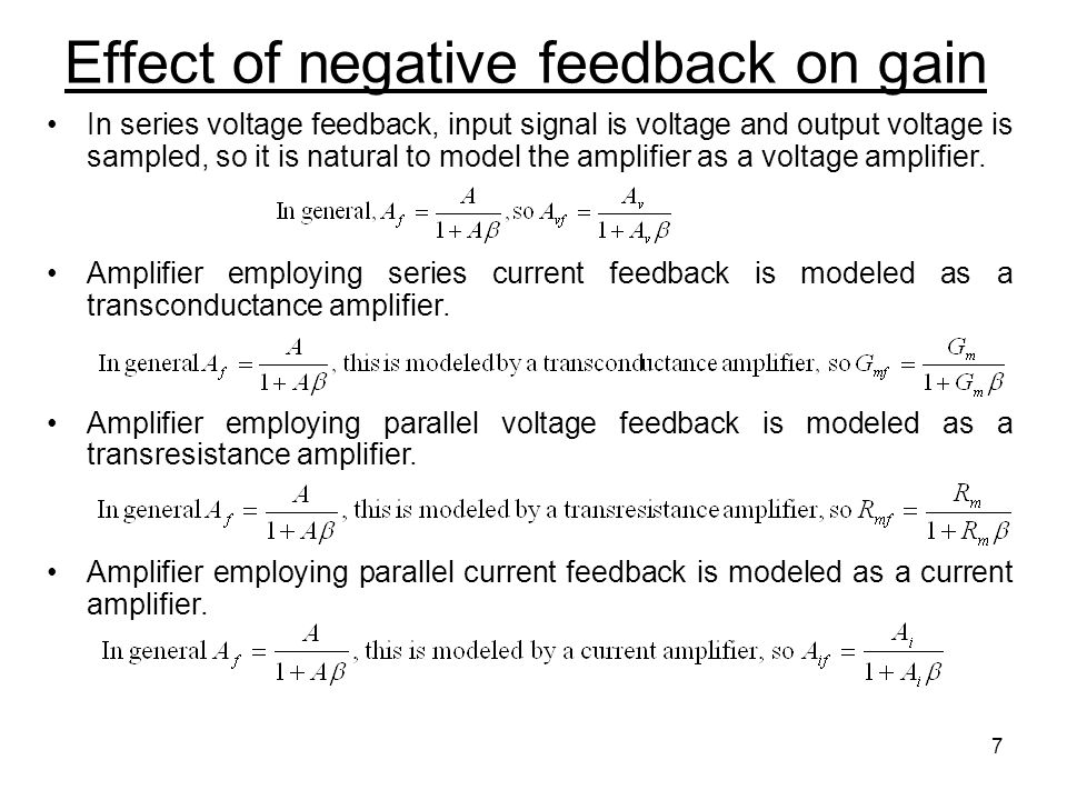 Effect of negative feedback on gain
