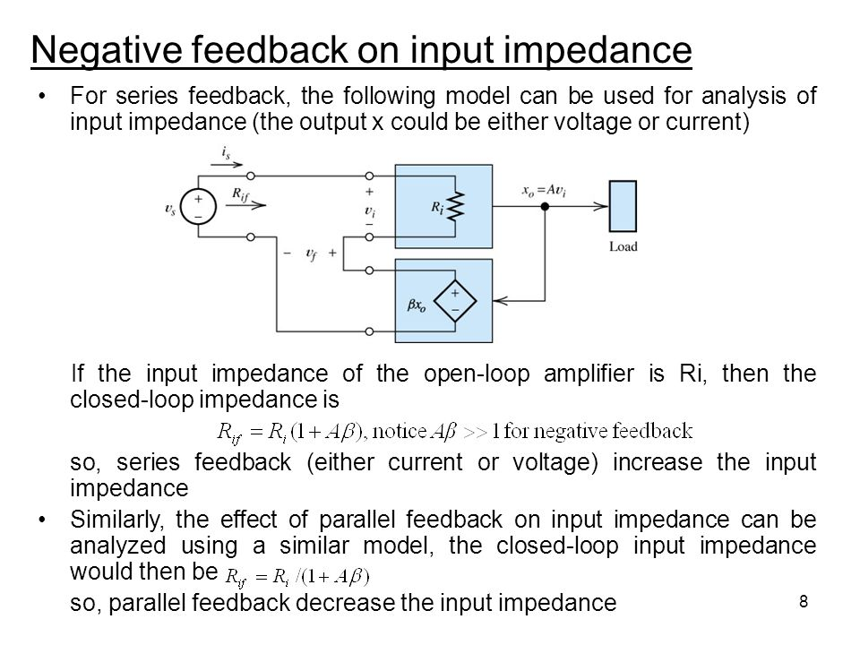 Negative feedback on input impedance