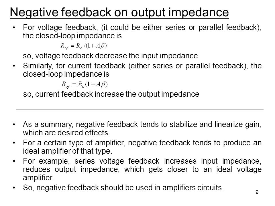 Negative feedback on output impedance
