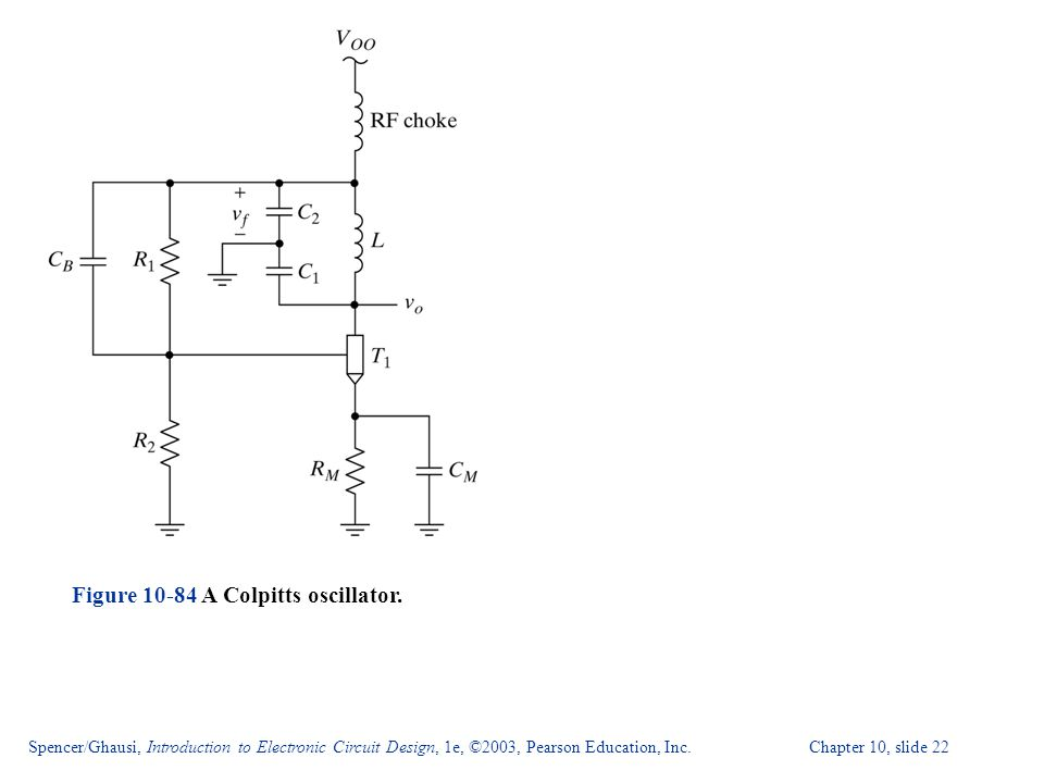 Figure 10-84 A Colpitts oscillator.