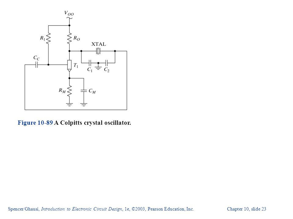 Figure 10-89 A Colpitts crystal oscillator.