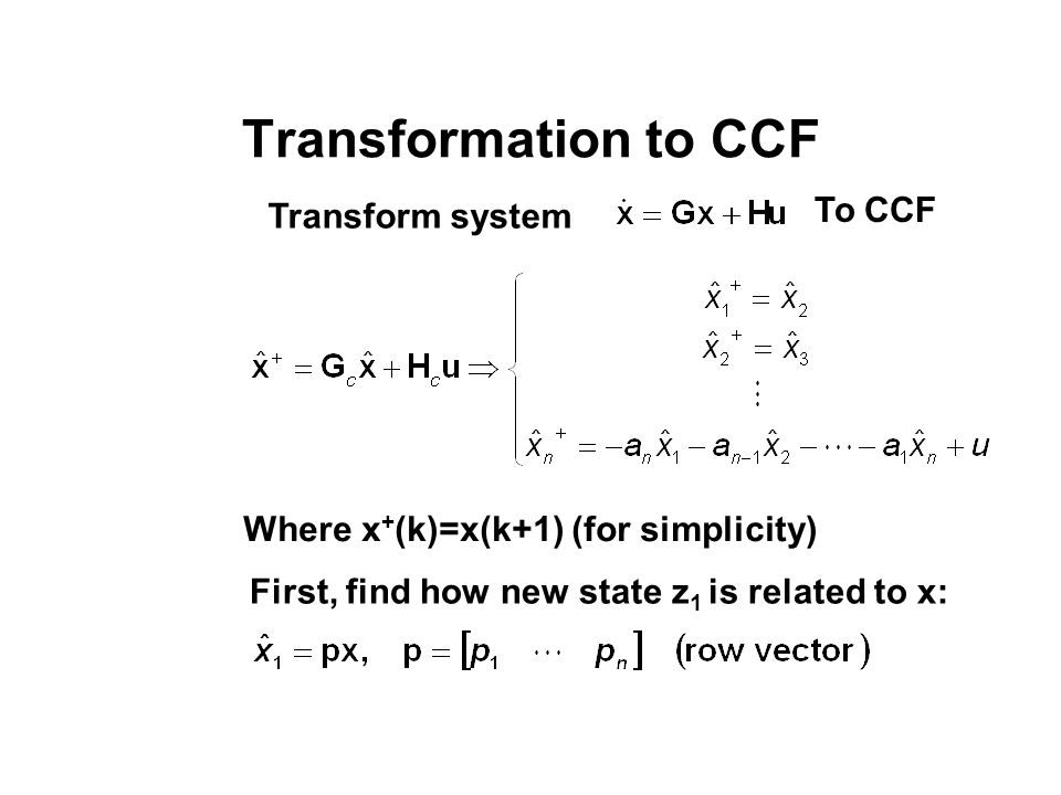 Transformation to CCF To CCF Transform system