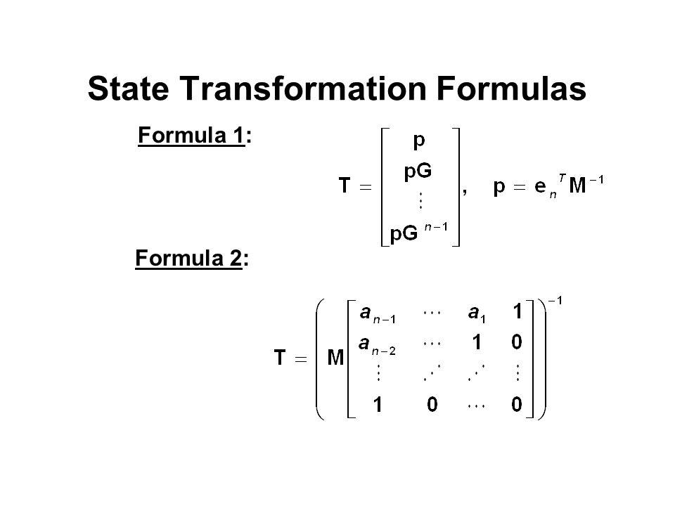 State Transformation Formulas