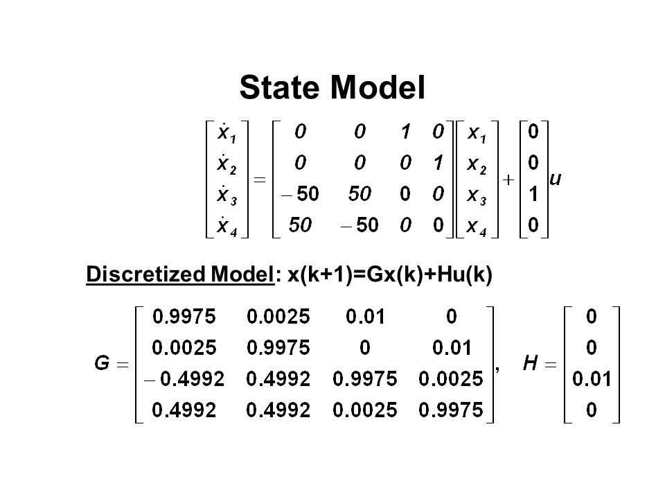 State Model Discretized Model: x(k+1)=Gx(k)+Hu(k)