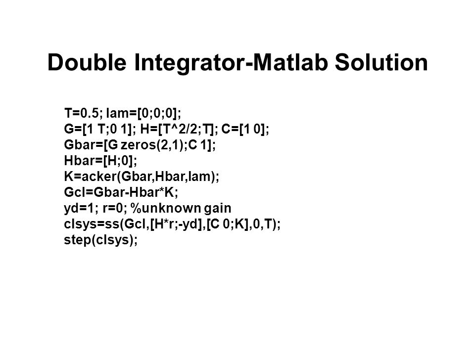 Double Integrator-Matlab Solution