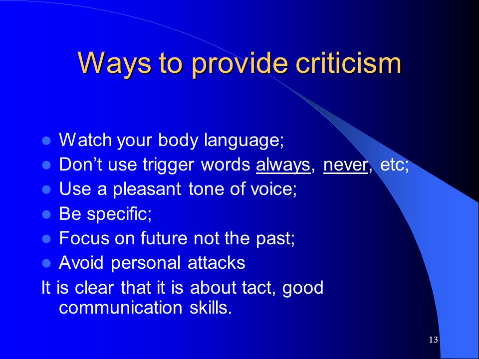 Ways to provide criticism