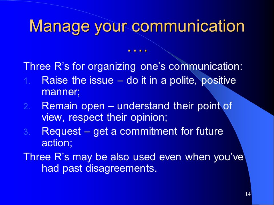 Manage your communication ….