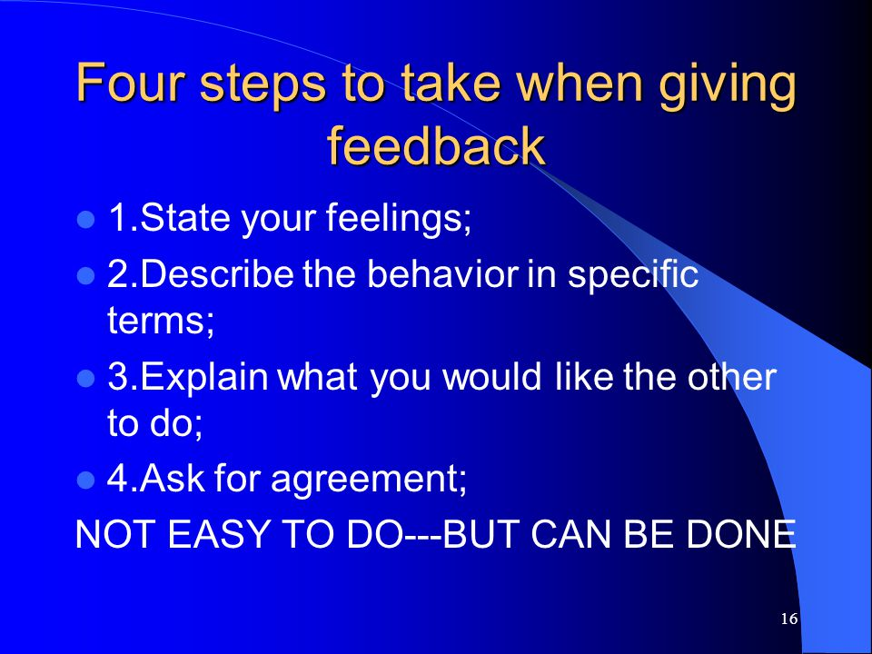 Four steps to take when giving feedback