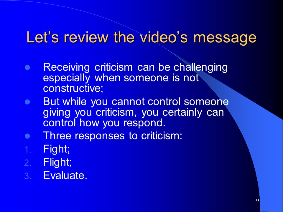 Let's review the video's message