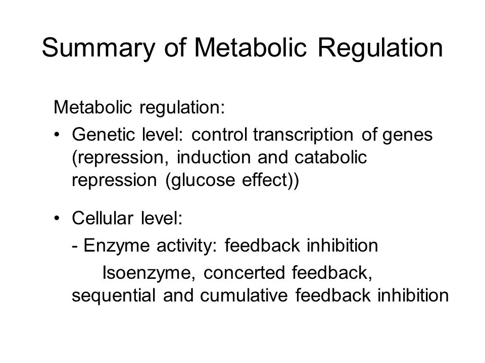 Summary of Metabolic Regulation
