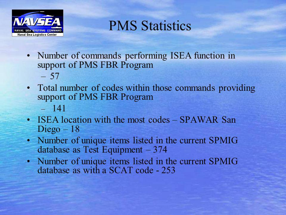 PMS Statistics Number of commands performing ISEA function in support of PMS FBR Program. 57.
