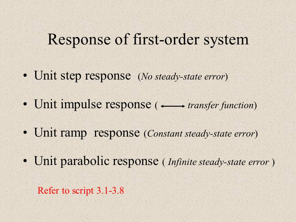 Response of first-order system