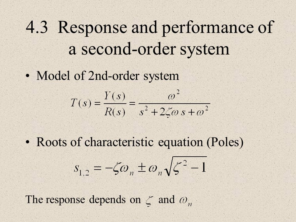 4.3 Response and performance of a second-order system