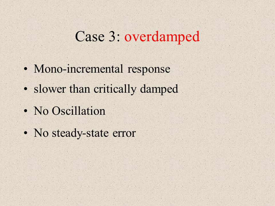 Case 3: overdamped Mono-incremental response