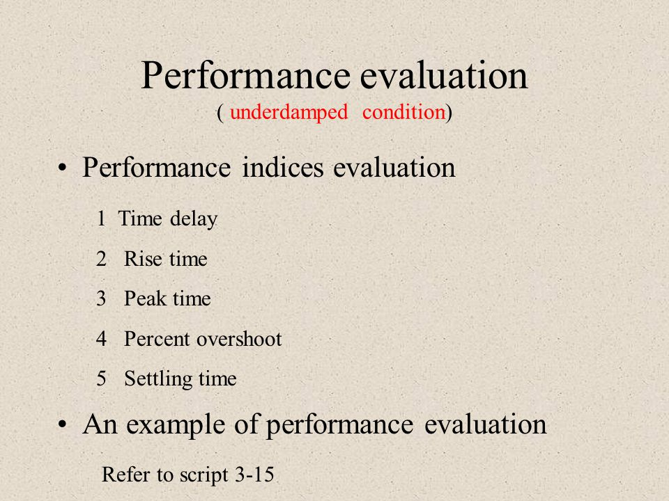 Performance evaluation ( underdamped condition)