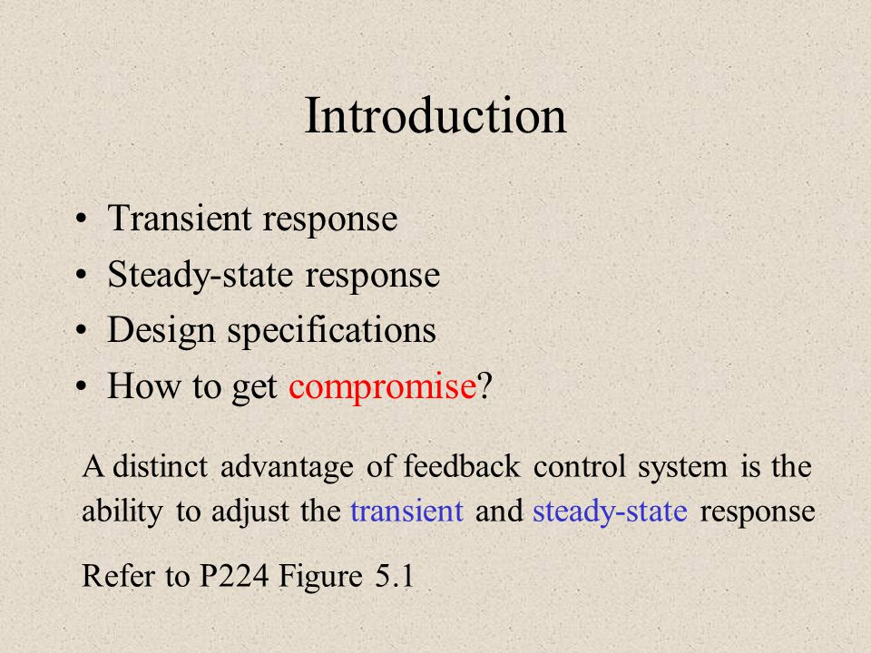 Introduction Transient response Steady-state response