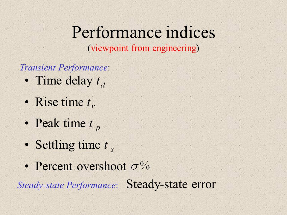 Performance indices (viewpoint from engineering)