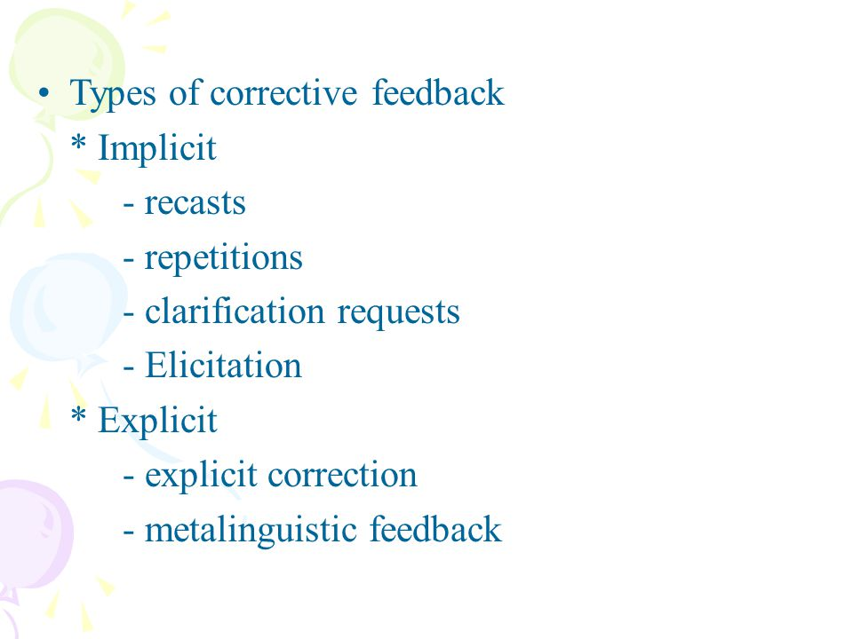 Types of corrective feedback