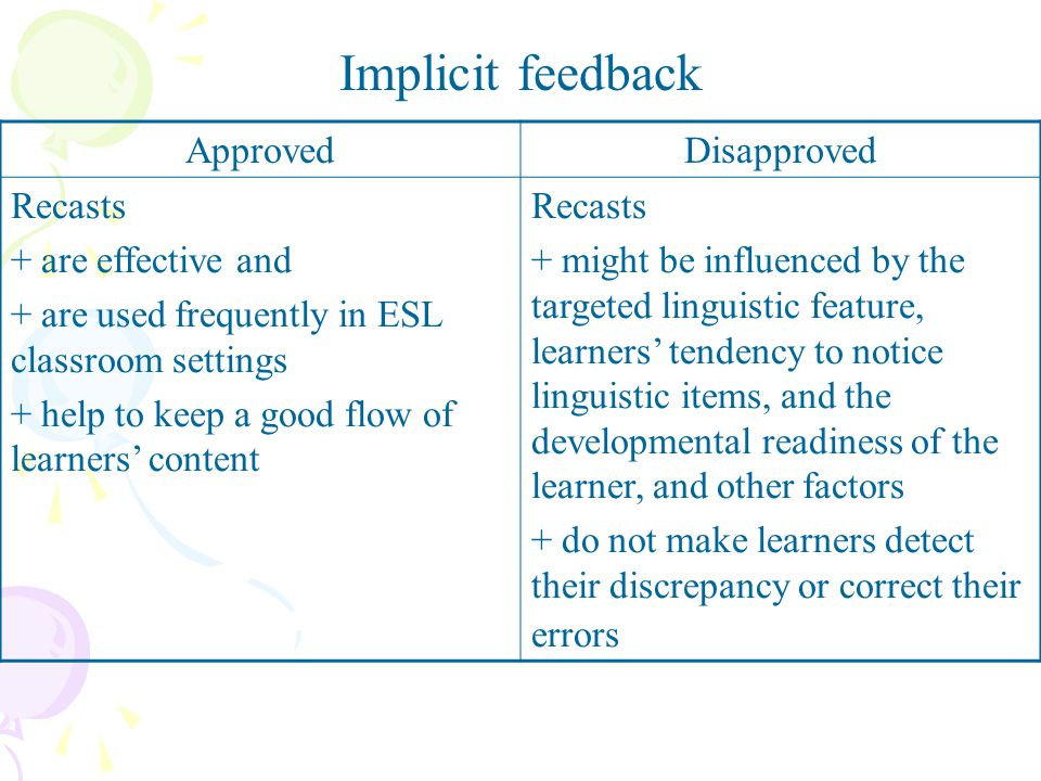 Implicit feedback Approved Disapproved Recasts + are effective and