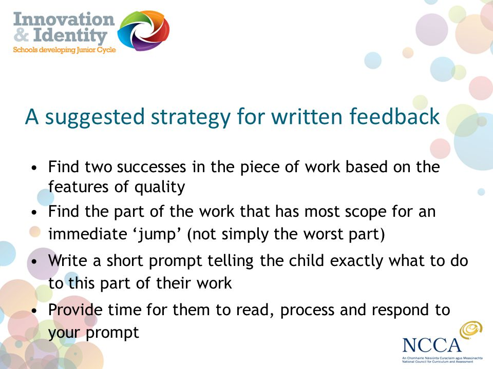 A suggested strategy for written feedback