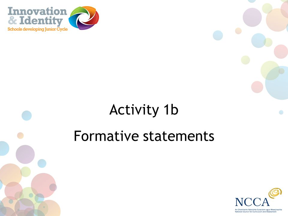 Activity 1b Formative statements