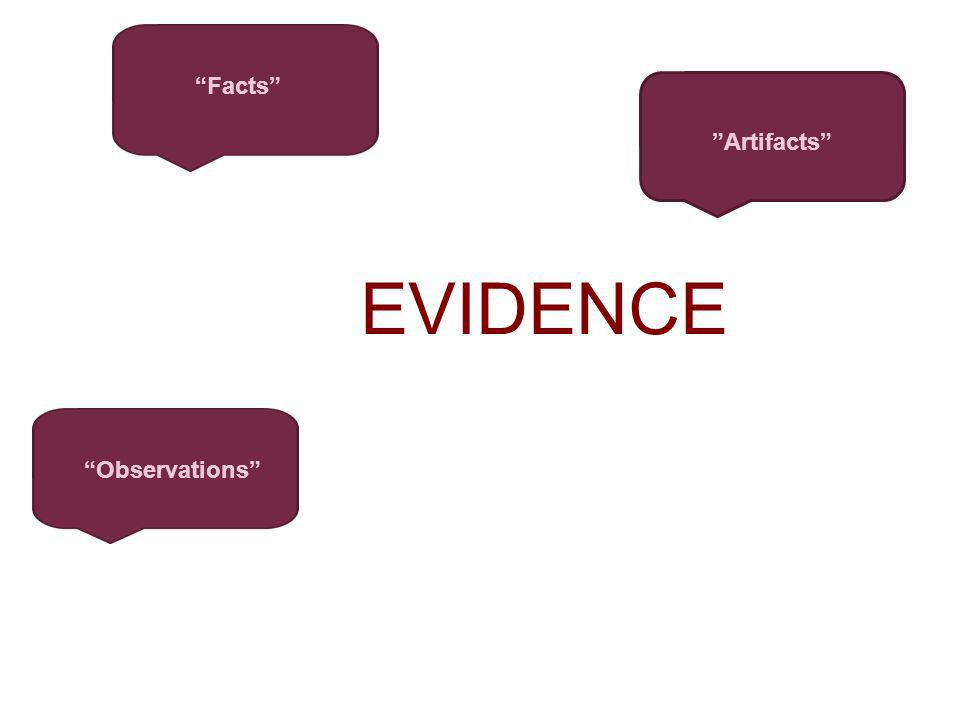 EVIDENCE Facts Artifacts Observations