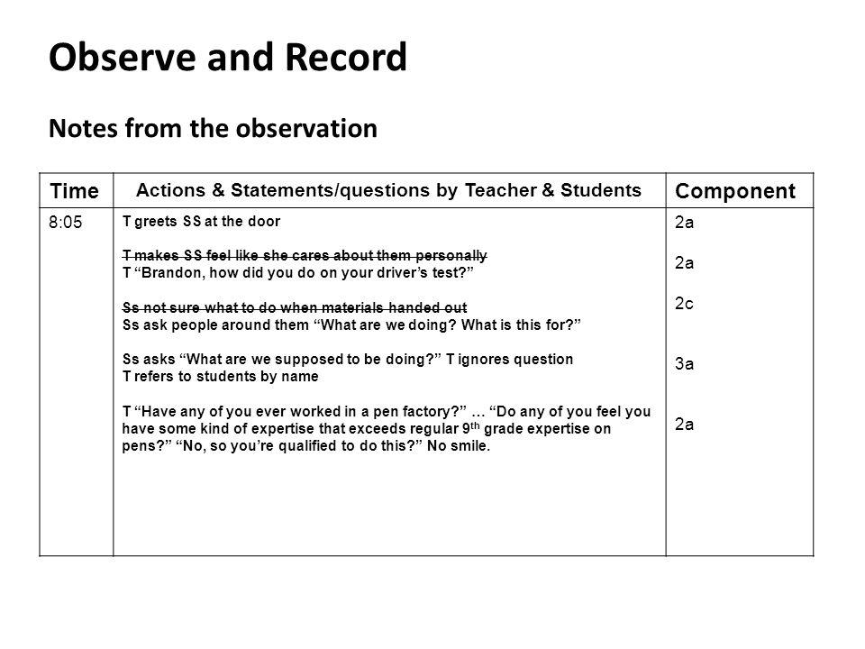 Actions & Statements/questions by Teacher & Students