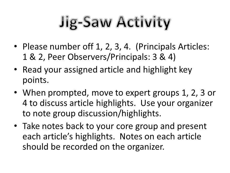 Jig-Saw Activity Please number off 1, 2, 3, 4. (Principals Articles: 1 & 2, Peer Observers/Principals: 3 & 4)