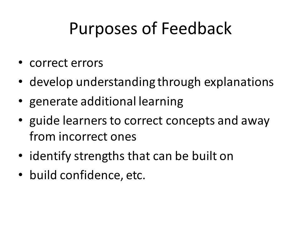 Purposes of Feedback correct errors