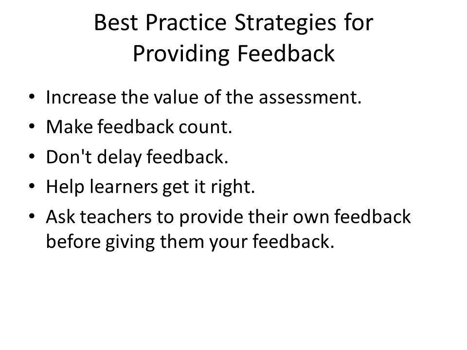 Best Practice Strategies for Providing Feedback