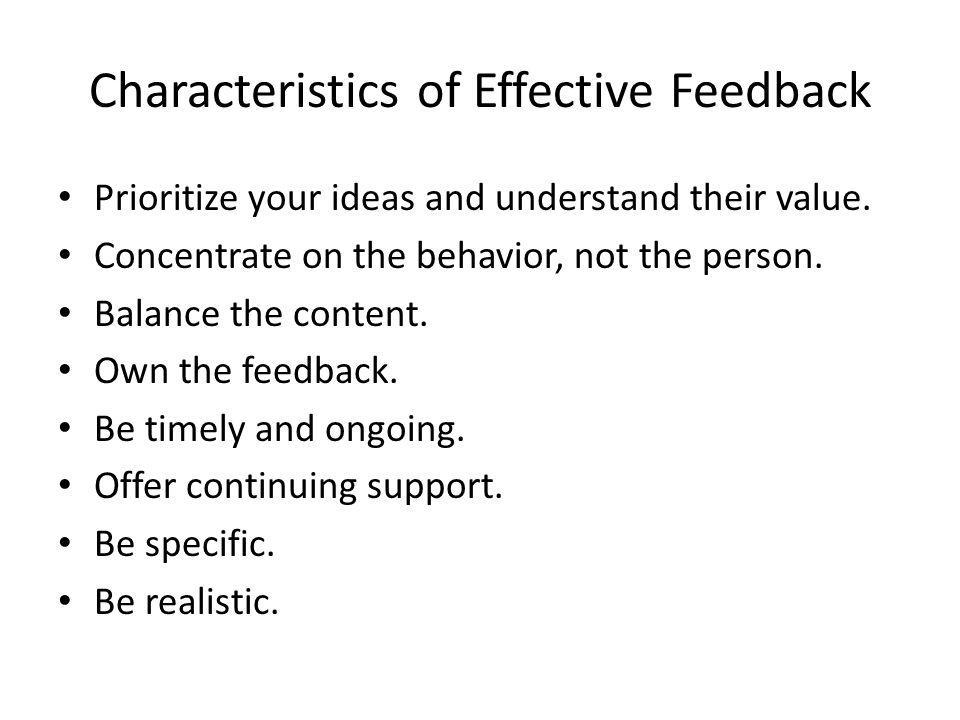 Characteristics of Effective Feedback