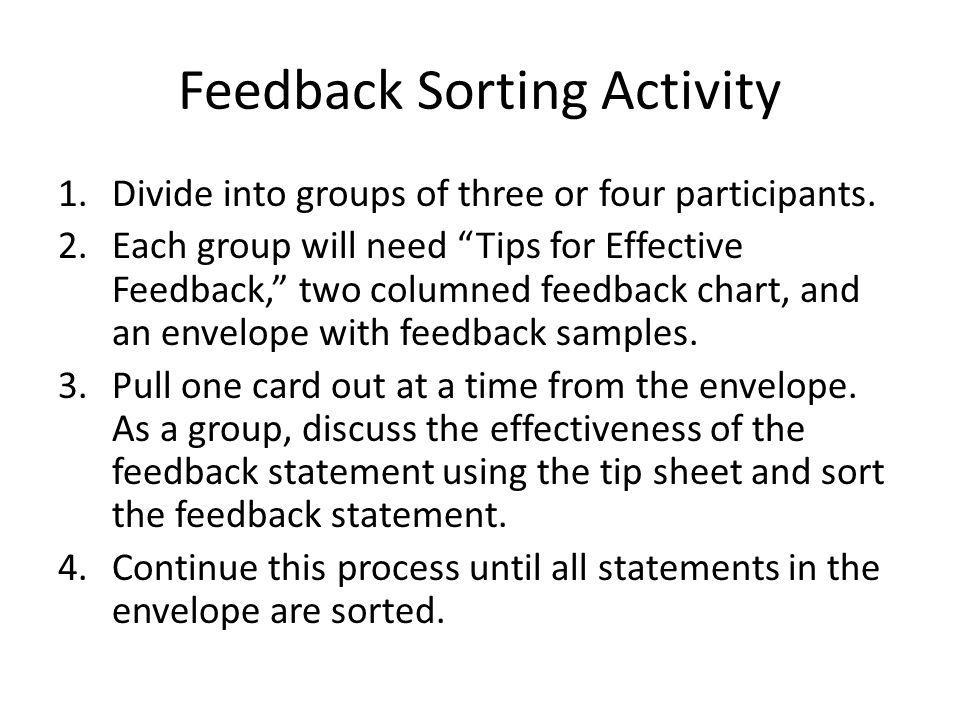 Feedback Sorting Activity