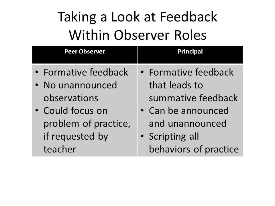 Taking a Look at Feedback Within Observer Roles