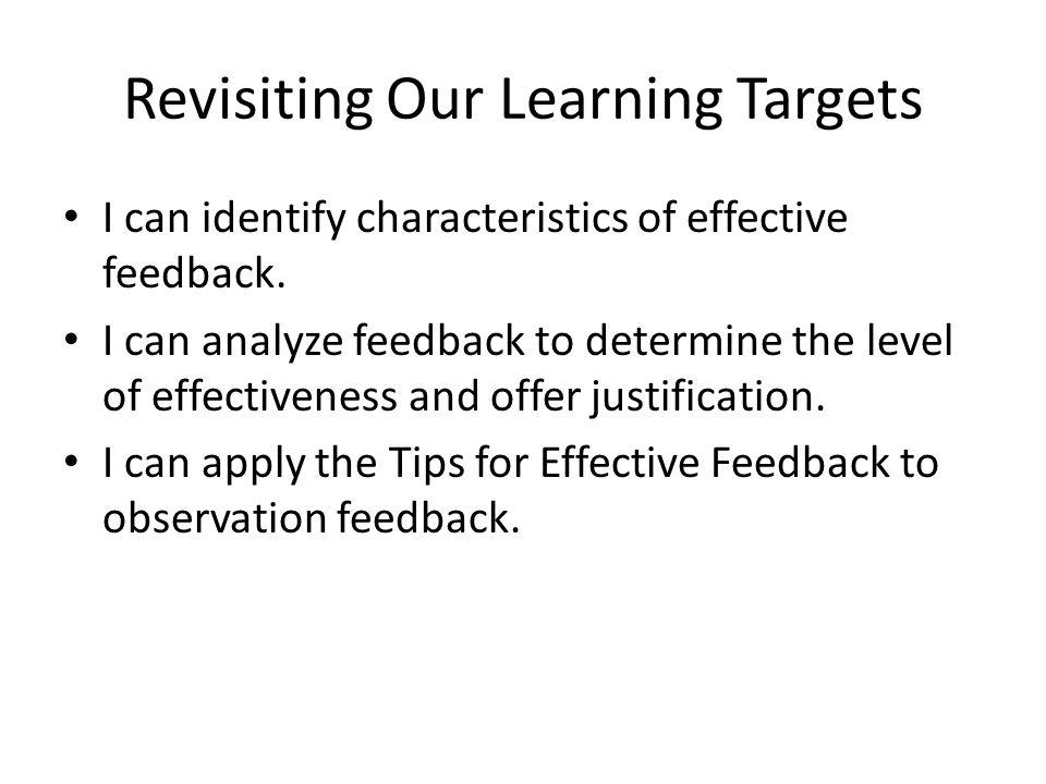 Revisiting Our Learning Targets