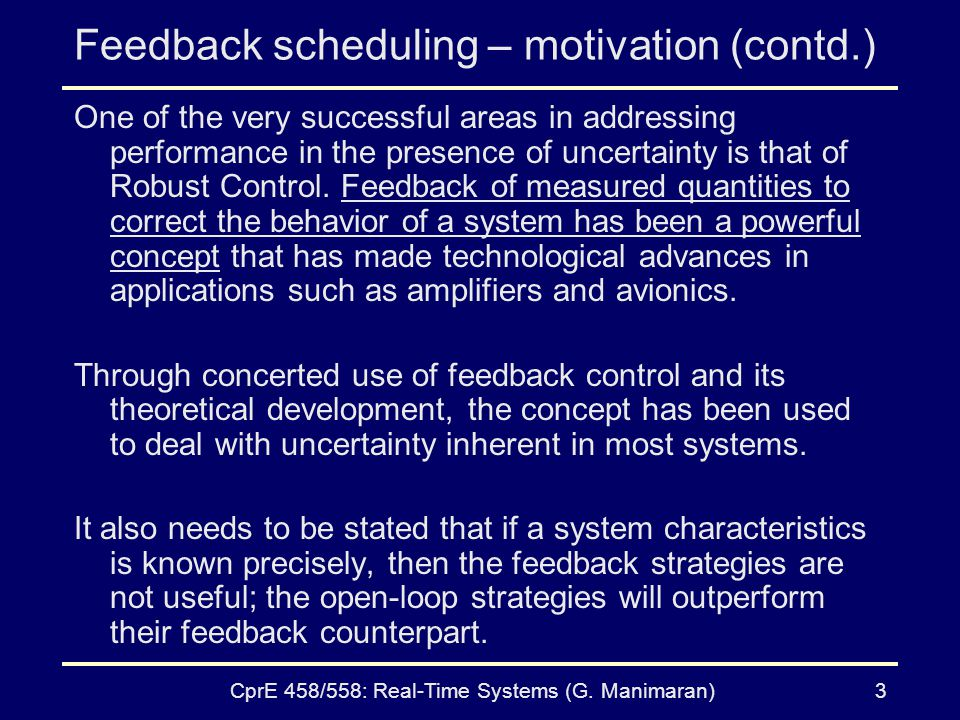 Feedback scheduling – motivation (contd.)