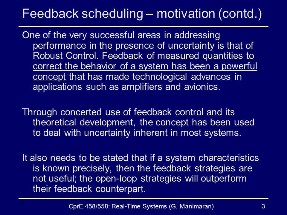 Feedback scheduling – motivation (contd.)