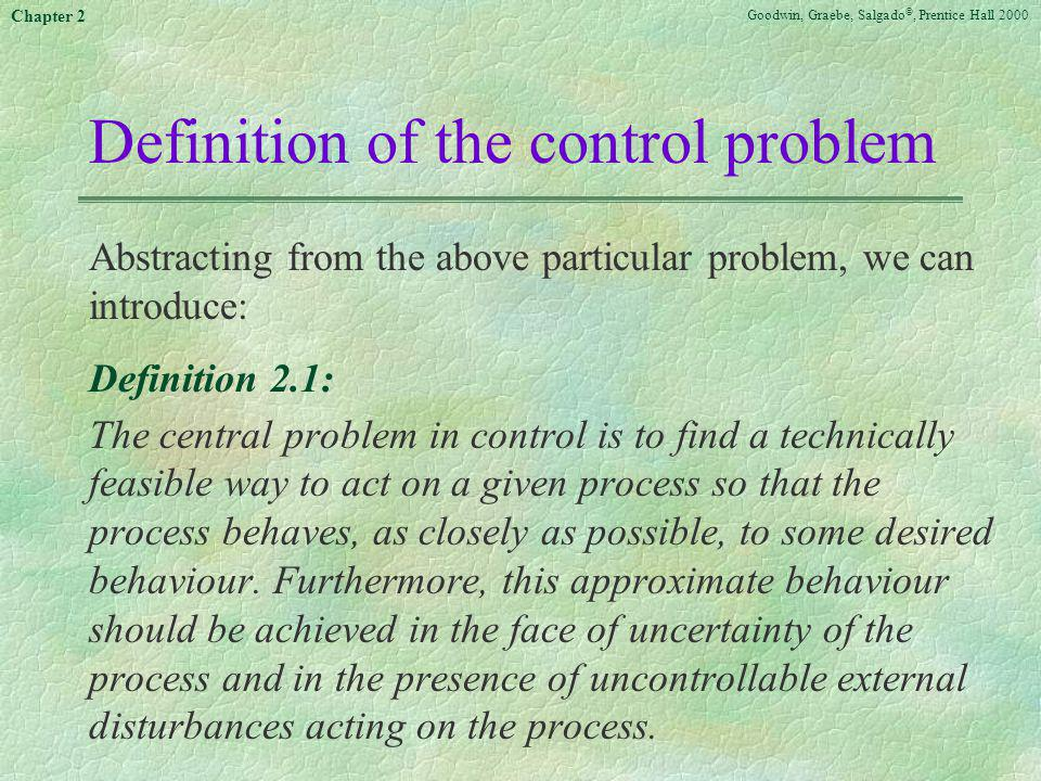 Definition of the control problem
