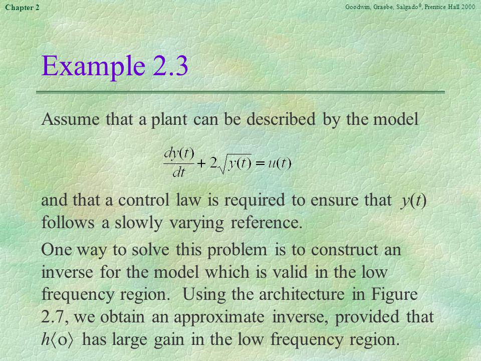 Example 2.3 Assume that a plant can be described by the model