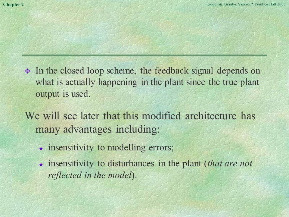 In the closed loop scheme, the feedback signal depends on what is actually happening in the plant since the true plant output is used.