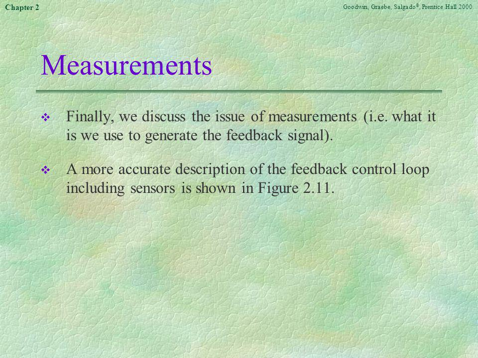 Measurements Finally, we discuss the issue of measurements (i.e. what it is we use to generate the feedback signal).