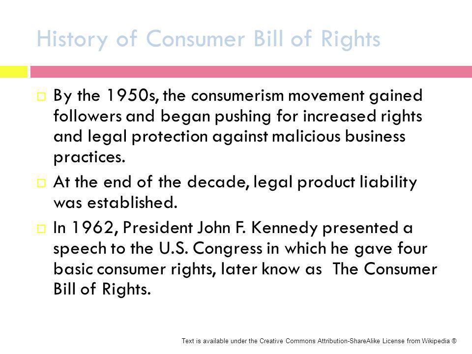 History of Consumer Bill of Rights