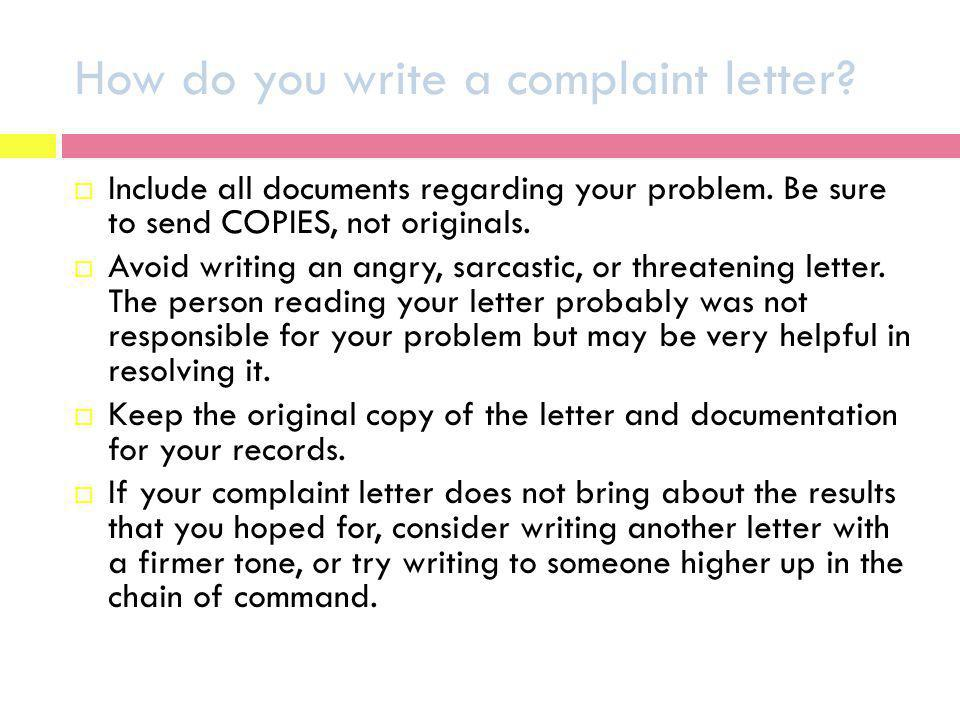How do you write a complaint letter